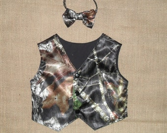 2 pc Boys and Men vest & bow tie set.Great for weddings.  #1 in fabric selection. Mossy Oak-Satin. 22 camo colors