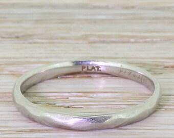 Art Deco 2mm Wedding Ring, Platinum