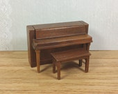 "STROMBECKER PIANO and BENCH, Unusual  Details and Style, 3/4"" Scale, Vintage Dollhouse Furniture"