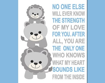 Blue and grey lion wall art print -UNFRAMED- baby boy nursery art,  typography, No one else will ever, quote,  lion family