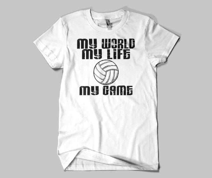 My world my life my game volleyball shirt volleyball player for Life is good volleyball t shirt