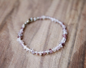 Pink Strawberry Quartz & White // Tiny Beads and Pink Speckled Gemstone Beads Bracelet