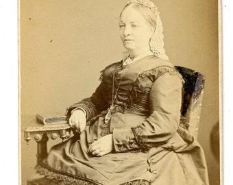 1870s Woman in Fancy Silk Dress CDV Photo Carte de Visite Antique Vintage Victorian Fashion London