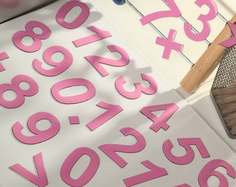 """2"""" Magnetic DIGITS on the Fridge, Magnets, 5 cm Pink Magnetic Numbers, MagWords"""