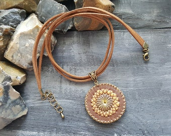 Brown leather necklace. Leather choker. Boho necklace. Boho choker. Mandala necklace. Mandala pendant. Leather pendant. Tribal necklace.