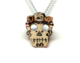 Sterling Silver Sugar Skull Pendant with Chain C04