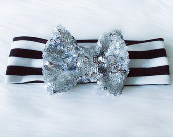 Silver  sequined Bow Black and white stripes headband