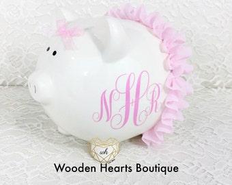 Large Personalized Light Pink Ballerina Piggy Bank, Custom Bank, Piggy Bank, Baby Bank, Baby Girl, Baby Shower, Ceramic Piggy Bank, Pink