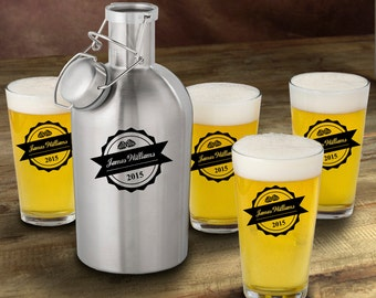 Personalized Stainless Steel Growler with Pint Glass Set - Personalized Growler Set - Man Cave Gift - Gifts for Him - GC1437