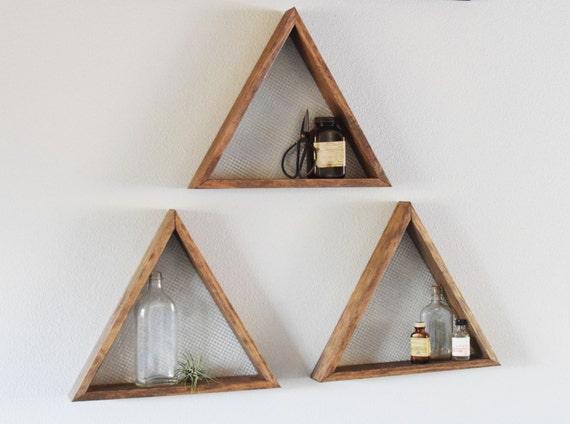 Set Of Three Geometric Wall Art Shelf Geometric Home Decor