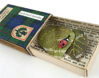 Ladybird in a matchbox - recycled paper sculpture