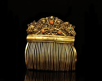 Antique original silver coral ottoman islamic amazing for lady hair buckle