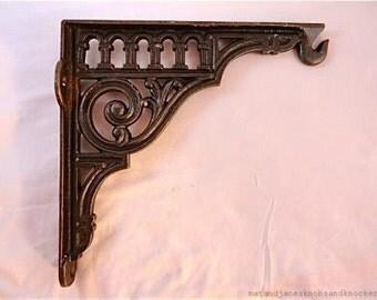 Large heavy cast iron Victorian style wall hook bracket hanging basket lantern wall shelf