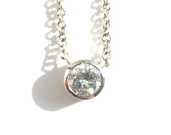 Vintage Diamond Necklace In White Gold Recycled Upcycled