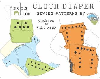 Fresh Bum Cloth Diaper Pattern - Both sizes: Newborn & Full