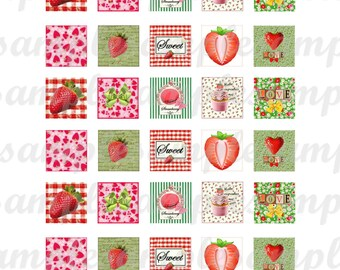 Digital collage sheet One inch square strawberry images, digital square, Instant Download square