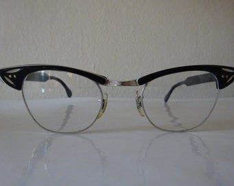 Vintage 1950's Silver And Black Cat Eye Glasses - FREE SHIPPING