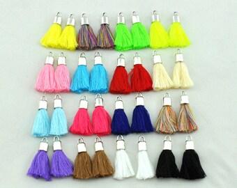 19 Color Mini Tassels,Cotton Tassel, Small Tassel, Jewelry Supplies, Simple Tassel Antique Silver Bead cap ---S246