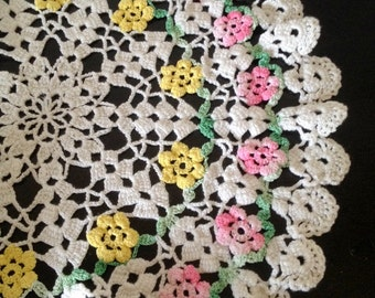 vintage Colorful Set of 2 Doilies Pink and Yellow Flowers Green Leaves Surrounded by Pure White Cotton Crochet Design - 12 and 7 1/2 inches