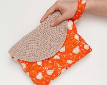 Crasty Flap/ Alfa / Orange clutch for her in a floral fabric, with changeable crochet flap