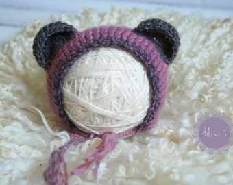 Cute bear hat newborn photo prop handmade hat
