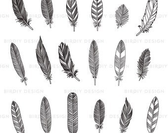 Rustic Feather Clipart - Woodland Clipart - Rustic Wedding Clipart - Rustic Clipart - Tribal Clipart - AI EPS PNG Files - Instant Download