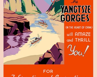 The Yangtsze Gorges (n the Heart of China) Vintage Travel Print/Poster