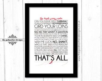 The Devil Wears Prada - Movie - Quotes & Lyrics Typography - PRINT