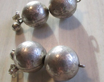 Silver Dime Bead Earrings  Dangle Posts