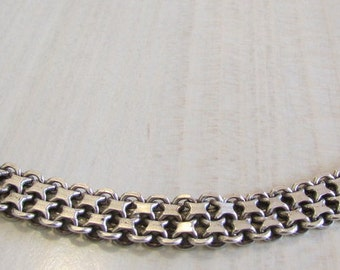 Great Looking Flexible Sterling Silver Llnk Bracelet  7 3/4""