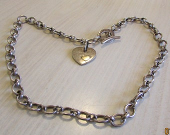 Links of London Sterling Silver Toggle Necklace with a Heart