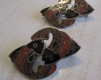 Two Sterling Silver Chip Inlay Pin/Pendants
