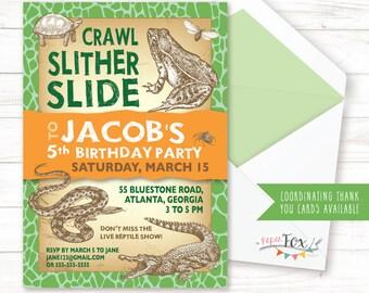 Reptile Birthday Invitation / Reptile Invitation / Reptile Invite / Reptile Party / Snake Invitation / Boy Birthday Invitation / PRINTABLE