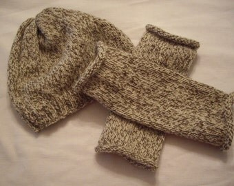 Pure Wool Hat and Fingerless Glove Set