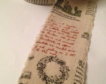 """May Arts Vintage Inspsired Print Linen/Cotton 2.5"""""""
