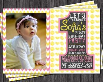 Pink Lemonade First Birthday Invitation - 1st Birthday Invitations