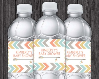 Tribal Water Bottle Labels - Printable Tribal Baby Shower Party Decorations - DIY Digital File