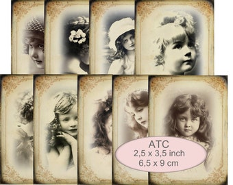 9  ATC Cards girls in shabby frames in sepia instant download digital collage sheet