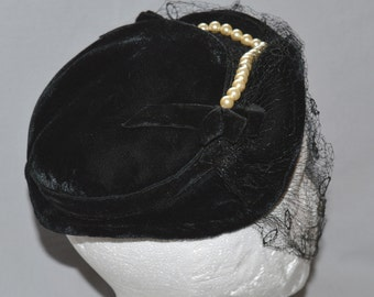 Vintage Ladies' Hat - Black Velvet Shaped Flat Hat or Pancake Hat with Faux Pearl Trim