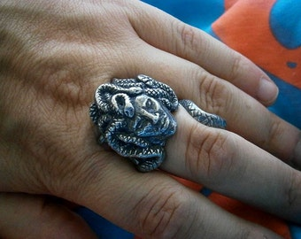 Medusa Gorgon Ring, Adjustable, Greek Myth, Snakes, Serpents