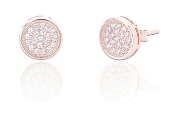 Sterling Silver & Rose Gold, Crystal CZ, Round, Flat, Circle, Disk, 7mm Stud Earrings - Pave Set