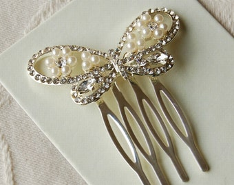 Diamante & Pearl Butterfly Hair Comb - Highest Quality - Wedding Accessories