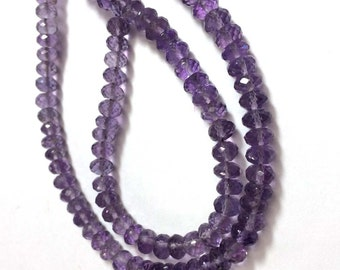 """AAA quality Amethyst faceted rondelle loose gemstone beads 8""""inch strand wholesale price amethyst stone necklace"""