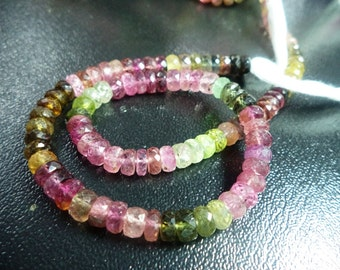 16 Inch Multi tourmaline bead- multi Tourmaline Faceted Rondelles beads AAA finest quality 5mm-6mm
