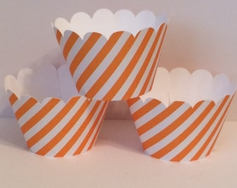 Orange and White Stripe Cupcake Wrappers, Party decorations, cupcake holders, party supplies, cupcake wraps, cupcake sleeves, paper goods
