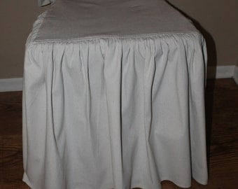 Four Drop Cloth Chair Seat Covers/ Chair Covers With Floor Length Ruffle,  With Back