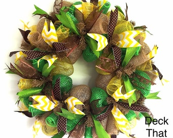 Green Yellow and Natural Burlap Mesh Wreath, Deck That Wall