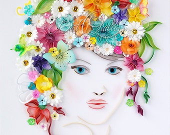 """Original Unique Quilling Drawing Art: """"Flower Girl"""" Paper Art, Framed, Free-standing frame, Wall Art and Deco, Pearls, Diamante Gems"""