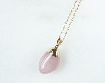 Necklace Natural Rose Quartz / Goldfilled 18K Chain / BAMBI Boutique / JN06