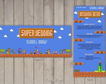 Wedding Menu Super Mario - Digital file